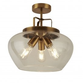 8973-3BZ Boule 3 Light Ceiling fitting in Bronze Finish