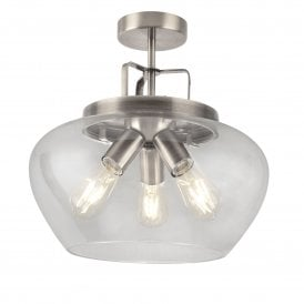 8973-3SS Boule 3 Light Ceiling Fitting in Satin Silver Finish