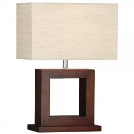 9000 Calven Square Single Light Table Lamp In Wood Effect Finish With Beige Linen Shade