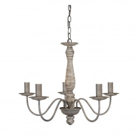 9235-5GY Sycamore 5 Light Ceiling Fitting In Grey Washed Wood Finish