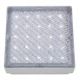 9913WH Clear LED Outdoor Recessed Square Walkover Fitting With White LED Light