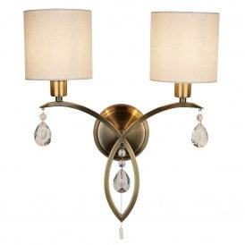 Alberto 2 Light Wall Fitting in Antique Brass Finish