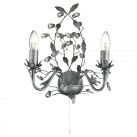 Almandite 2 Light Wall Fitting with An Antique Silver Finish