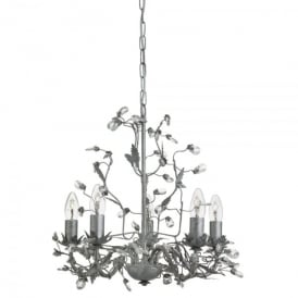 Almandite 5 Light Ceiling Fitting with An Antique Silver Finish