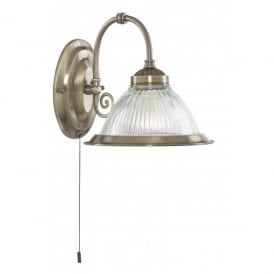 American Diner Single Light Wall Fitting in Antique Brass Finish