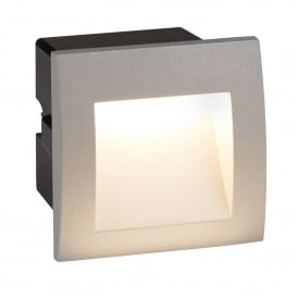 Ankle LED Outdoor Recessed Large Square Step Light In Grey Finish