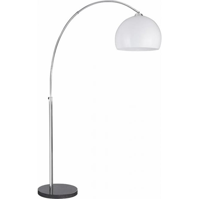 Low Energy Floor Lamps: Searchlight Lighting Arc Single Light Low Energy Floor Lamp In Polished  Chrome Finish With Black Marble Base And White Thermo Plastic Shade -  Lighting Type ...,Lighting