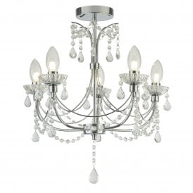 Autumn 5 Light Bathroom Chandelier in Polished Chrome Finish