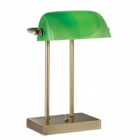 Bankers Single Light Switched Desk Lamp in an Antique Brass Finish