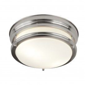 Bathroom 2 Light Ceiling Fitting in Satin Silver Finish