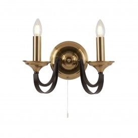 Belfry 2 Light Wall Fitting in Brown and Bronze Finish