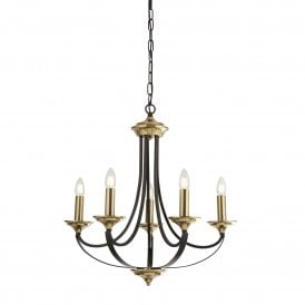 Belfry 5 Light Ceiling Pendant in Brown and Bronze Finish