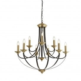 Belfry 9 Light Ceiling Pendant in Brown and Bronze Finish