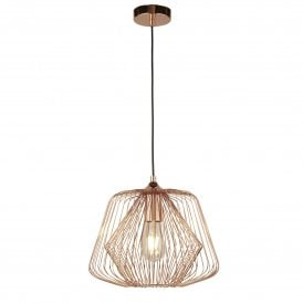 Bell Cage Single Light Ceiling Pendant in Copper Finish