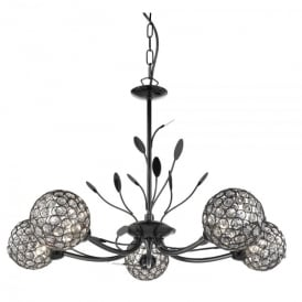 Bellis II 5 Light Ceiling Pendant In Black Chrome Finish