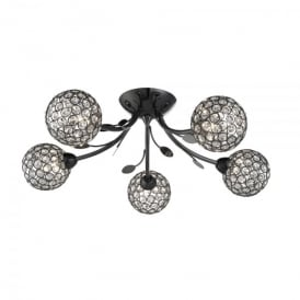 Bellis II 5 Light Semi Flush Ceiling Fitting In Black Chrome Finish
