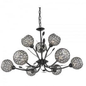 Bellis II 9 Light Ceiling Pendant In Black Chrome Finish