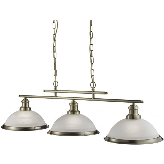 Bistro 3 Light Ceiling Bar Pendant In Antique Brass Finish With Acid Glass Shades