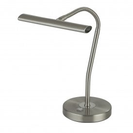 Bow LED Touch Operated Desk Lamp in Satin Silver Finish