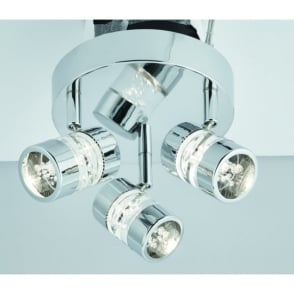 Bubbles 3 Light LED Ceiling Spotlight In Polished Chrome Finish With Acrylic Effect