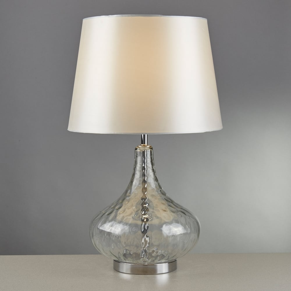 searchlight lighting cantata single light table lamp with clear glass base and white faux silk. Black Bedroom Furniture Sets. Home Design Ideas
