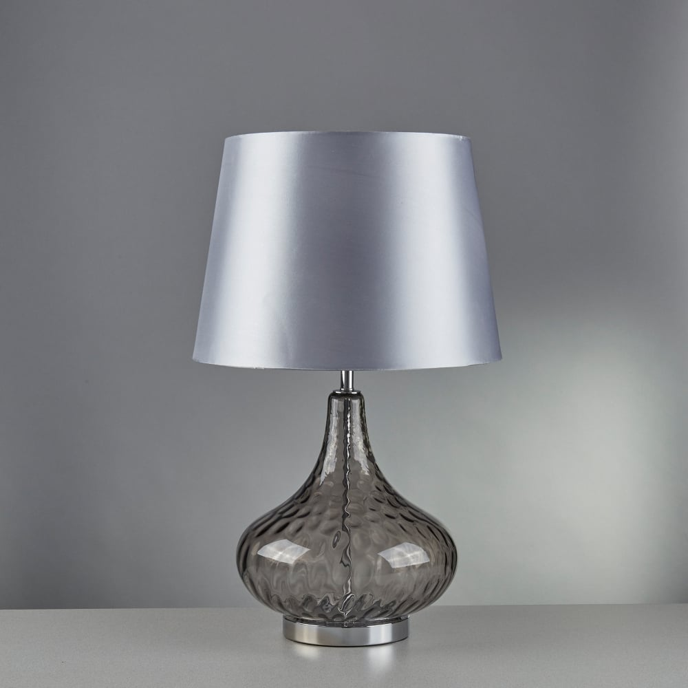 Searchlight lighting cantata single light table lamp with smoked cantata single light table lamp with smoked glass base and silver faux silk shade aloadofball Images
