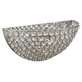 Chantilly Single Light Polished Chrome Wall Uplighter with Crystal Detail