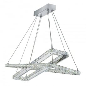 Clover LED Ceiling Pendant In Polished Chrome And Crystal Finish