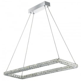 Clover LED Rectangle Ceiling Pendant In Polished Chrome And Crystal Finish