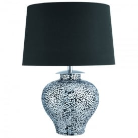 Cosmopolitan Single Light Table Lamp With Polished Chrome Mosaic Design And Black Shade