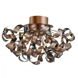 Curls 12 Light Semi Flush Ceiling Fitting In Copper Finish With Crystal Glass Insets