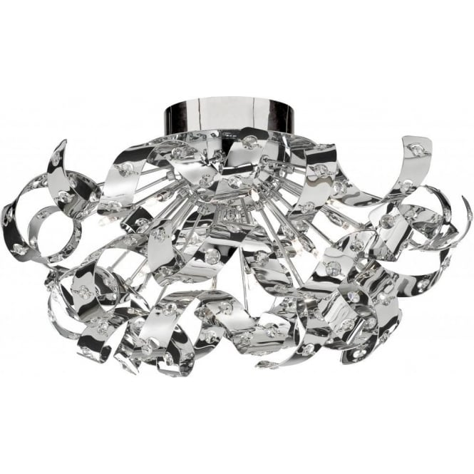 Searchlight Lighting Curls Chrome Halogen 12 Light Fitting With Crystal  Glass Insets