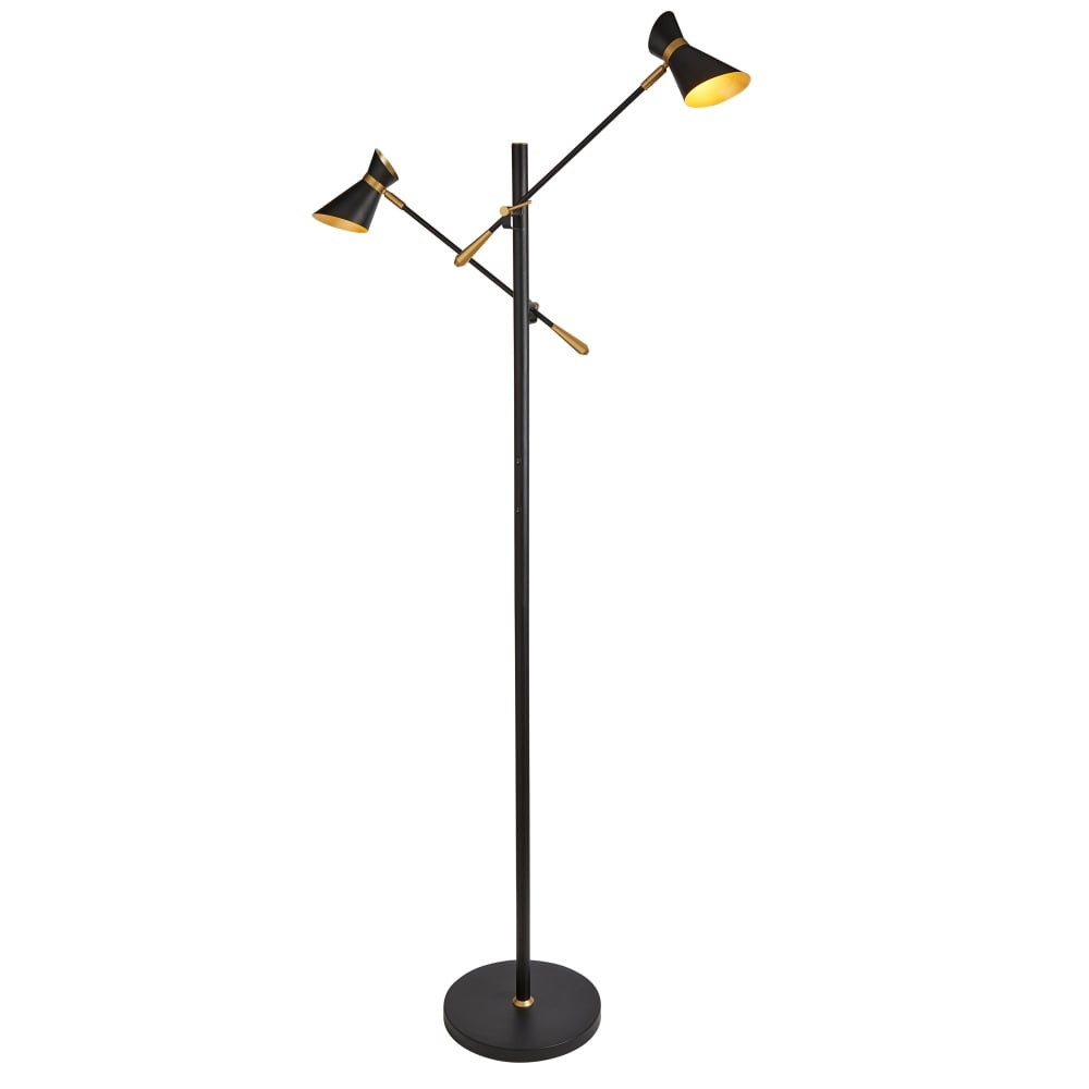 Diablo 2 light led spot light floor lamp in matt black finish with gold trim amp