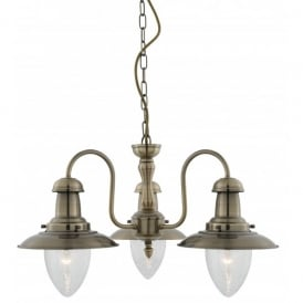 Fisherman 3 Light Ceiling Pendant in Antique Brass Finish