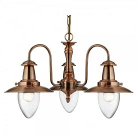 Fisherman 3 Light Ceiling Pendant In Copper Finish