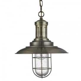 Fisherman Single Light Pendant In Antique Brass Finish With Caged Shade