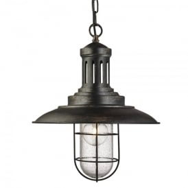 Fisherman Single Light Pendant In Black Gold Finish With Caged Shade