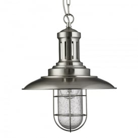 Fisherman Single Light Pendant In Satin Silver Finish With Caged Shade