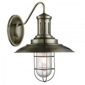 Fisherman Single Light Wall Fitting In Antique Brass Finish With Caged Shade