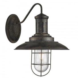 Fisherman Single Light Wall Fitting In Black Gold Finish With Caged Shade