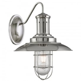Fisherman Single Light Wall Fitting In Satin Silver Finish With Caged Shade