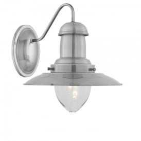 Fisherman Single Light Wall Fitting In Satin Silver Finish With Clear Glass Shade