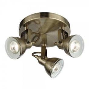 Focus 3 Light Spotlight Fixture in Antique Brass