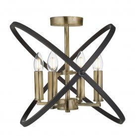Hoopla 4 Light Ceiling Fitting in Bronze Finish