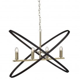 Hoopla 4 Light Ceiling Pendant in Bronze Finish