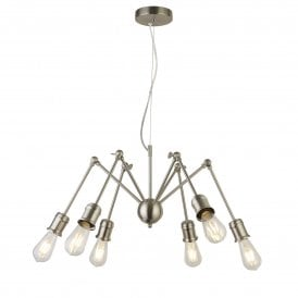 Mantis 6 Light Ceiling Fitting in Satin Silver Finish