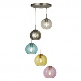 Mardi Gras 5 Light Multi Coloured Ceiling Pendant