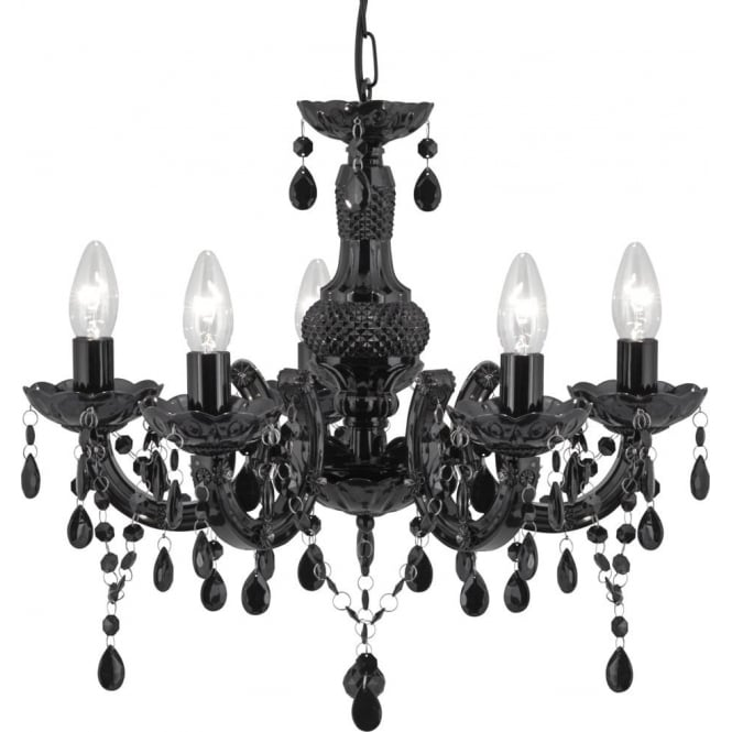Marie Therese 5 Light Black Acrylic Chandelier With Polished Chrome Detail