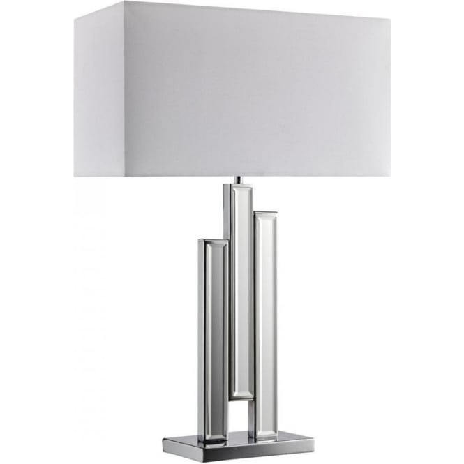 mirror lamp. mirror table single light lamp with mirrored column base and a white fabric shade t