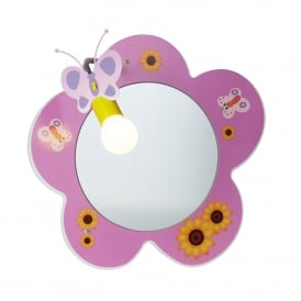 Novelty Children's Flower Mirror Wall Light In Pink Finish With Flowers And Butterflies Design